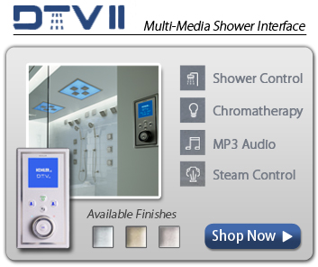 DTV2  Multi-Media Shower interface. Offers control of Light, Color, Shower, Mp3 Audio, Steam and Flow/Angle Adjustment.