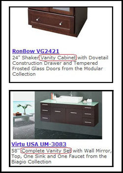 Vanity Cabinets and Vanity Sets