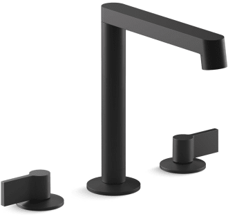 Kohler K 77969 9 Bl Matte Black Components 1 2 Gpm Widespread Row Spout Bathroom Faucet With Industrial Handles Ultraglide Technology And Pop Up Drain Assembly Faucetdirect Com