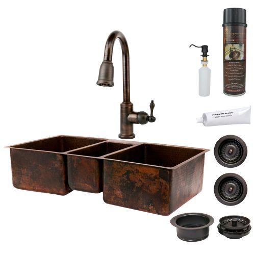 Premier Copper Products KSP2_KTDB422210 42 Triple Basin Undermount Kitchen Sink Oil Rubbed Bronze Fixture Combination