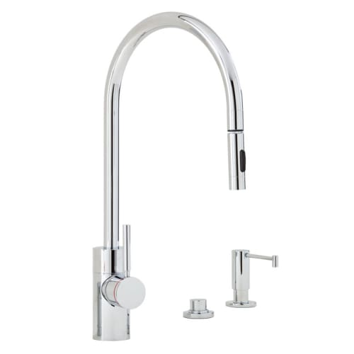 Waterstone 5400-3 Parche Kitchen Faucet Single Handle with Pull Out Spray, Soap Chrome Faucet Single Handle
