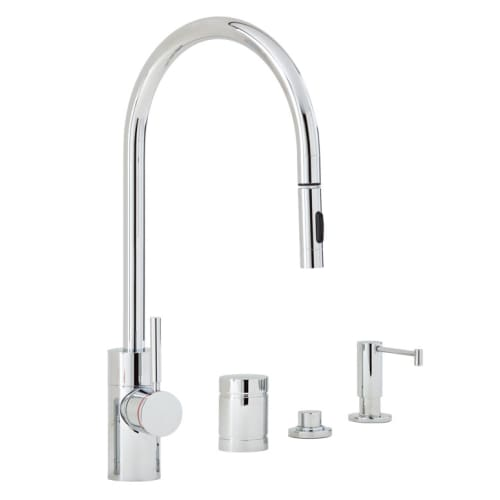 Waterstone 5400-4 Parche Kitchen Faucet Single Handle with Pull Out Spray, Soap Chrome Faucet Single Handle