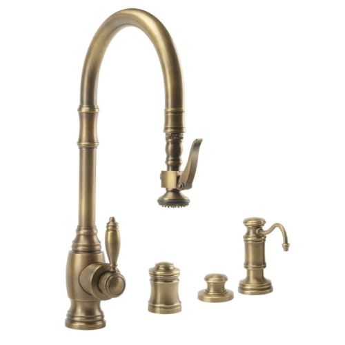 Waterstone 5600-4 Annapolis Kitchen Faucet Single Handle with Pullout Spray, Soa Tuscan Brass Faucet Single Handle