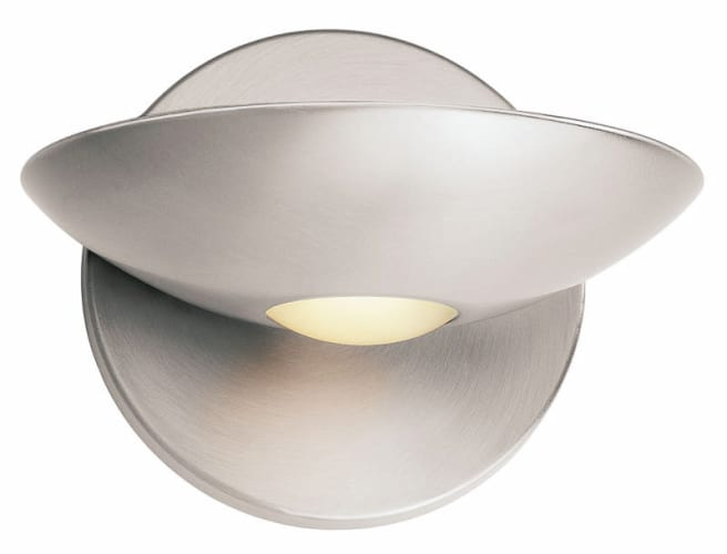 Access Lighting 62084 BSFST Brushed Steel Frosted Glass Helius Contemporary Modern Single Light Up Lighting Wall Sconce from the Helius Collection 62084