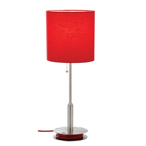 Adesso 3022 08 Red Bobbin Bobbin 1 Light Table Lamp with Ball Accented On Off Pull Chain 3022 08