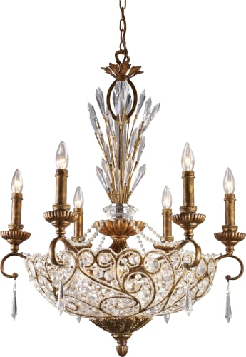 Vintage ELK Lighting Spanish Bronze Senecal Crystal Twelve Light Up Down