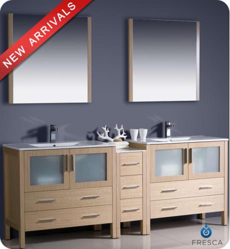 Undermount Lighting For Kitchen Cabinets: Fresca Torino 84-inch Light Oak Modern Double Sink