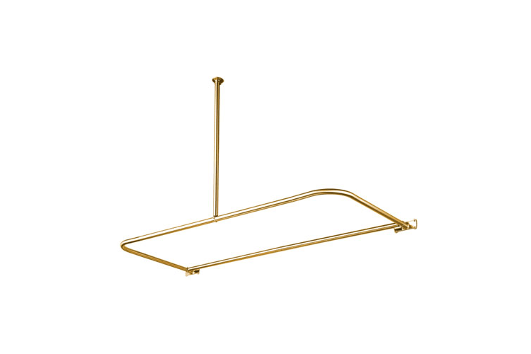 Kingston Brass CC3132 Polished Brass Vintage Vintage D-Type Shower Curtain Rod with Ceiling Support CC313