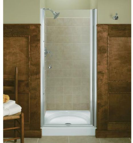pivot shower door with crystal clear glass bright brass cheap price