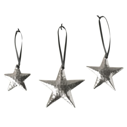 Native Trails CPO535 Brushed Nickel  Handcrafted Copper Star Ornaments (Set of 3) CPO35