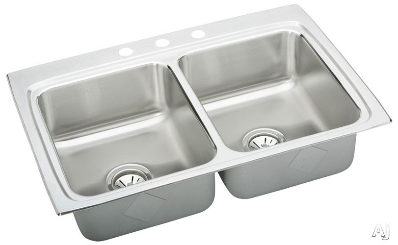 Elkay Lustertone 33x22 3 Hole Double Bowl Sink LR33223 at Sears.com
