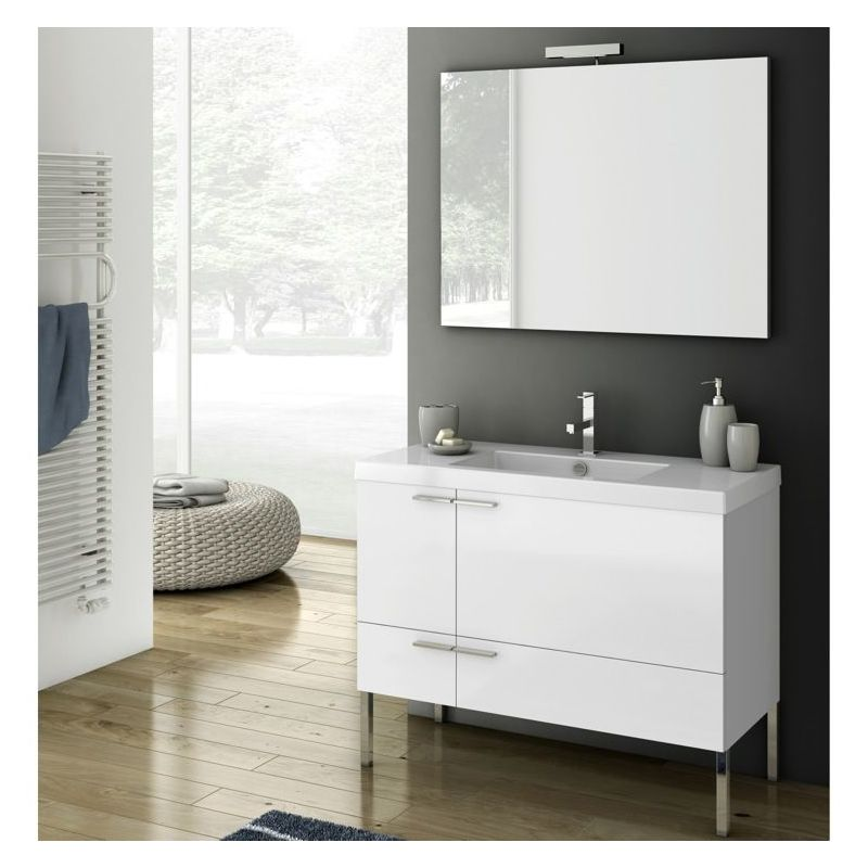 ACF by Nameeks ANS04 New Space 39-1\/5 Floor Standing Vanity Set with Wood Cabin Glossy White Fixture Single