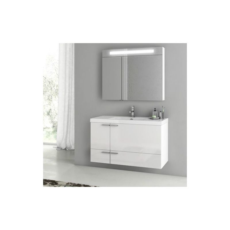 ACF by Nameeks ANS05 New Space 39-1\/5 Wall Mounted Vanity Set with Wood Cabinet Glossy White Fixture Single