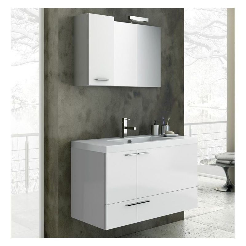 ACF by Nameeks ANS06 New Space 39-1\/5 Wall Mounted Vanity Set with Wood Cabinet Glossy White Fixture Single