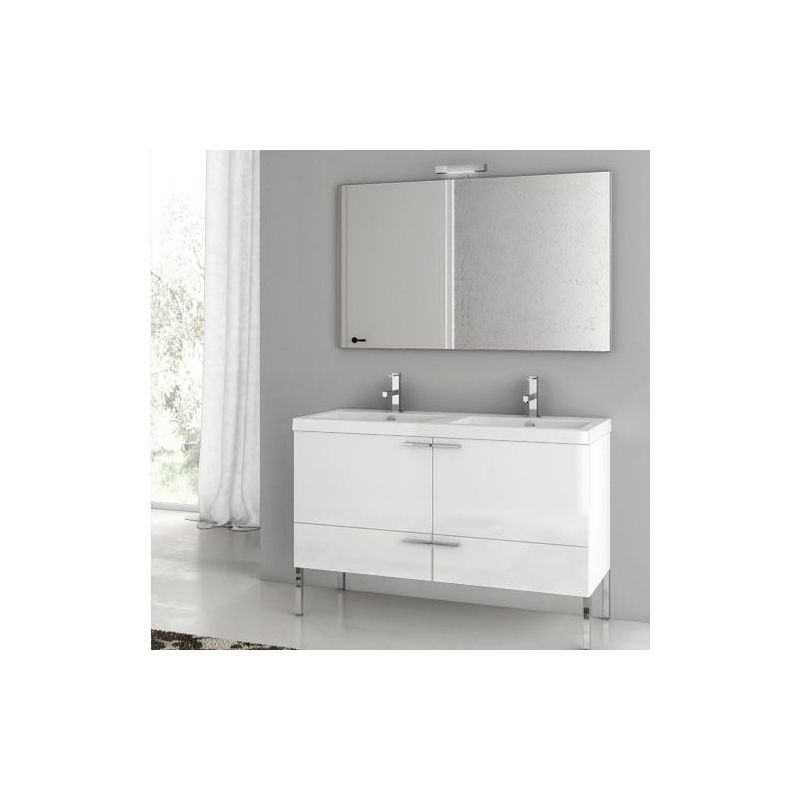 ACF by Nameeks ANS07 New Space 47 Floor Standing Vanity Set with Wood Cabinet, Glossy White Fixture Single