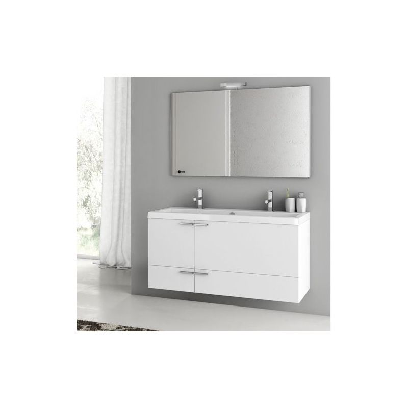 ACF by Nameeks ANS08 New Space 47 Wall Mounted Vanity Set with Wood Cabinet, Ce Glossy White Fixture Single
