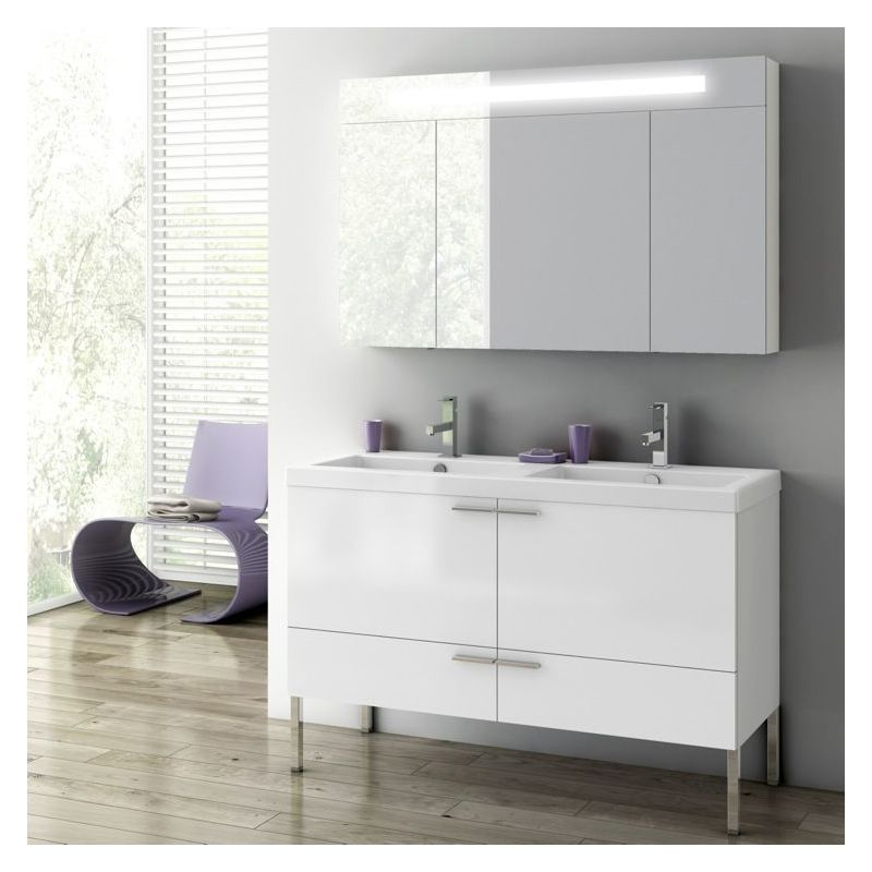 ACF by Nameeks ANS09 New Space 47 Floor Standing Vanity Set with Wood Cabinet, Glossy White Fixture Single