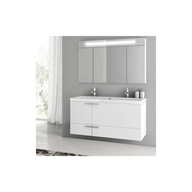 ACF by Nameeks ANS10 New Space 47 Wall Mounted Vanity Set with Wood Cabinet, Ce Glossy White Fixture Single