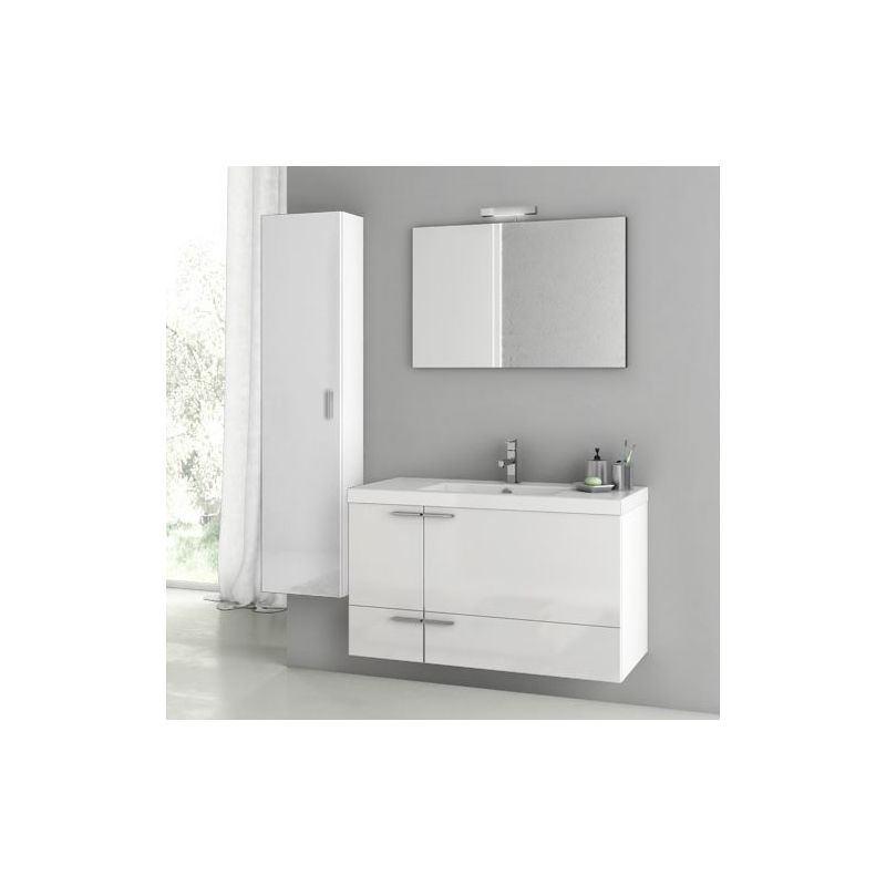 ACF by Nameeks ANS107 New Space 39-1\/5 Wall Mounted Vanity Set with Wood Cabine Glossy White Fixture Single