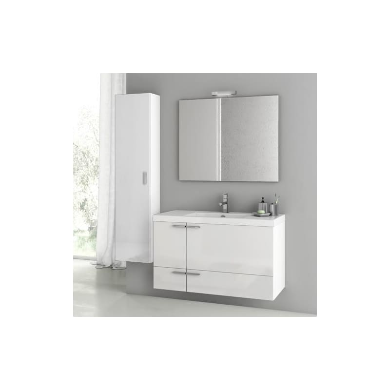 ACF by Nameeks ANS113 New Space 39-1\/5 Wall Mounted Vanity Set with Wood Cabine Glossy White Fixture Single