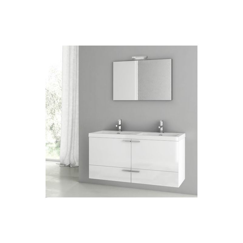 ACF by Nameeks ANS119 New Space 47 Wall Mounted Vanity Set with Wood Cabinet, C Glossy White Fixture Single