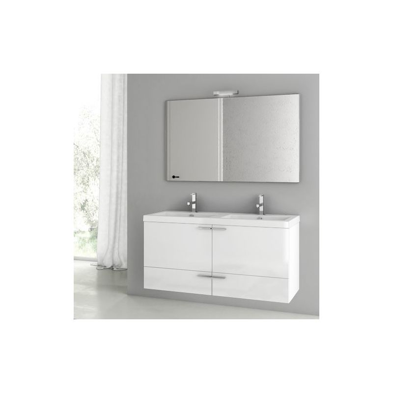 ACF by Nameeks ANS123 New Space 47 Wall Mounted Vanity Set with Wood Cabinet, C Glossy White Fixture Single