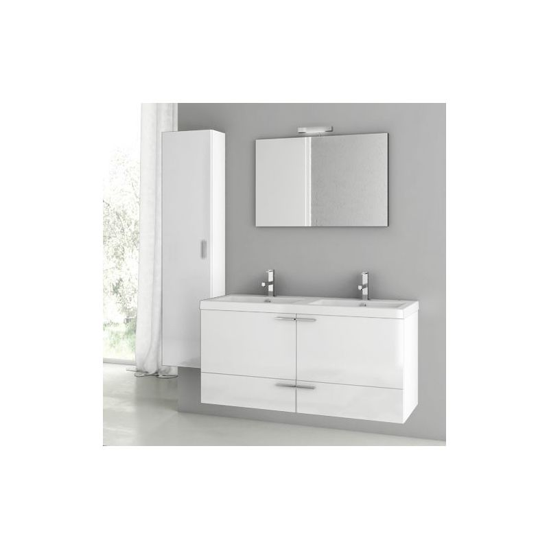 ACF by Nameeks ANS127 New Space 47 Wall Mounted Vanity Set with Wood Cabinet, C Glossy White Fixture Single