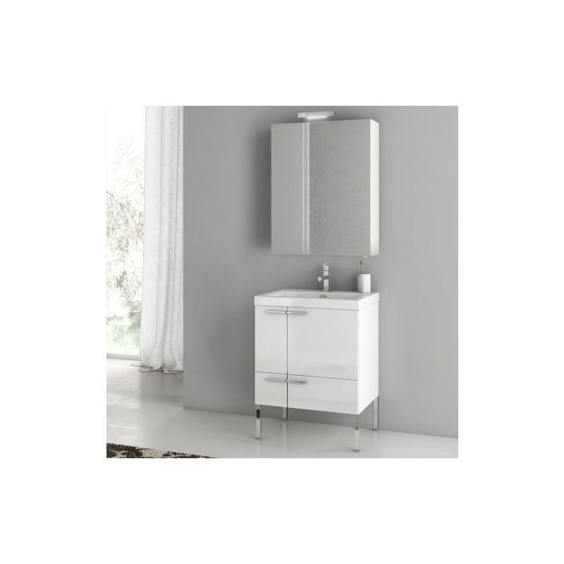 ACF by Nameeks ANS14 New Space 23-6-15 Floor Standing Vanity Set with Wood Cabi Glossy White Fixture Single
