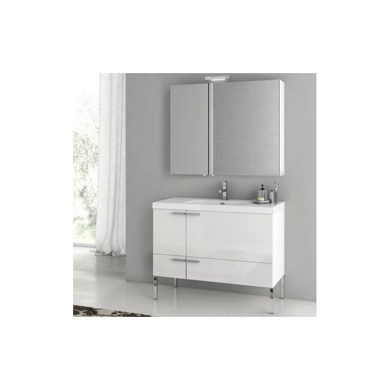 ACF by Nameeks ANS15 New Space 39-1\/5 Floor Standing Vanity Set with Wood Cabin Glossy White Fixture Single