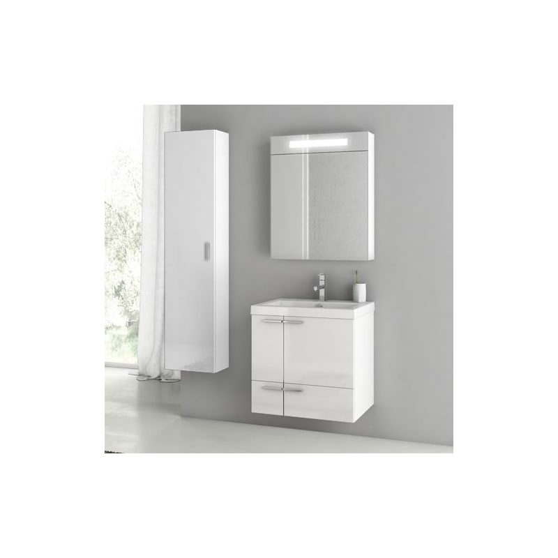ACF by Nameeks ANS159 New Space 23-6\/15 Wall Mounted Vanity Set with Wood Cabin Glossy White Fixture Single