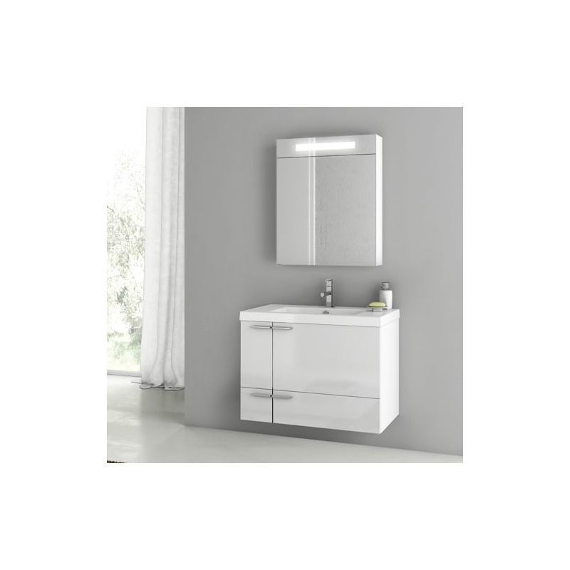 ACF by Nameeks ANS171 New Space 31-3\/10 Wall Mounted Vanity Set with Wood Cabin Glossy White Fixture Single
