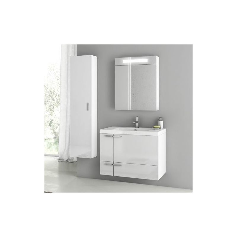 ACF by Nameeks ANS173 New Space 31-3\/10 Wall Mounted Vanity Set with Wood Cabin Glossy White Fixture Single