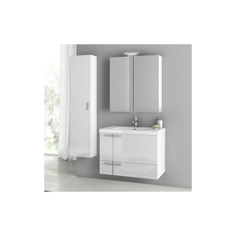 ACF by Nameeks ANS174 New Space 31-3\/10 Wall Mounted Vanity Set with Wood Cabin Glossy White Fixture Single