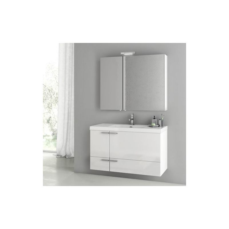 ACF by Nameeks ANS186 New Space 39-1-5 Wall Mounted Vanity Set with Wood Cabine Glossy White Fixture Single