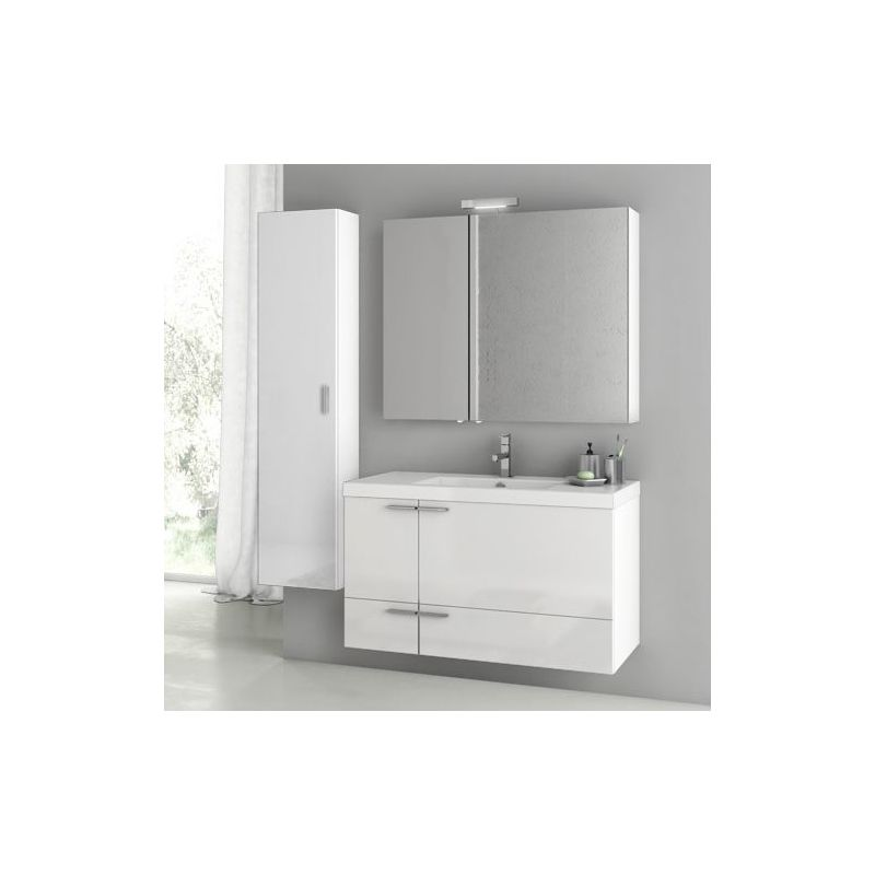 ACF by Nameeks ANS187 New Space 39-1-5 Wall Mounted Vanity Set with Wood Cabine Glossy White Fixture Single