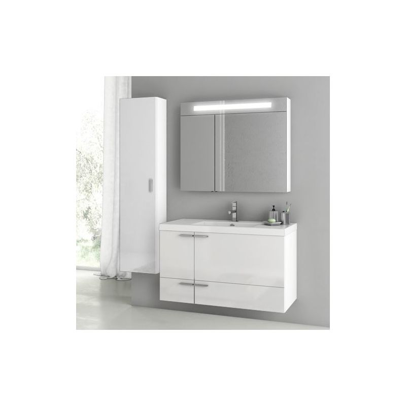 ACF by Nameeks ANS188 New Space 39-1-5 Wall Mounted Vanity Set with Wood Cabine Glossy White Fixture Single