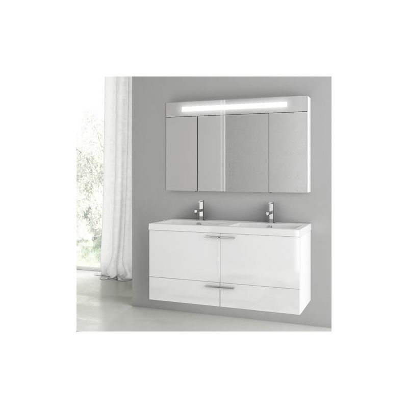 ACF by Nameeks ANS201 New Space 47 Wall Mounted Vanity Set with Wood Cabinet, C Glossy White Fixture Single