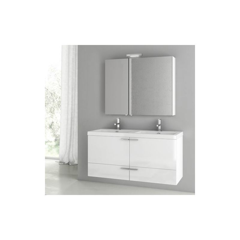 ACF by Nameeks ANS202 New Space 47 Wall Mounted Vanity Set with Wood Cabinet, C Glossy White Fixture Single