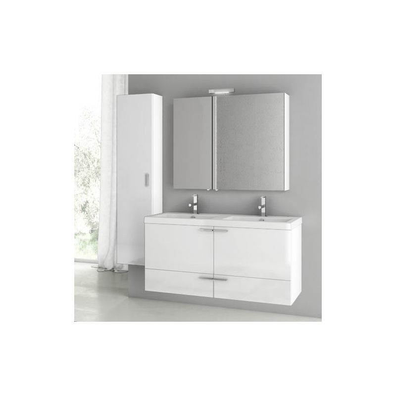 ACF by Nameeks ANS204 New Space 47 Wall Mounted Vanity Set with Wood Cabinet, C Glossy White Fixture Single