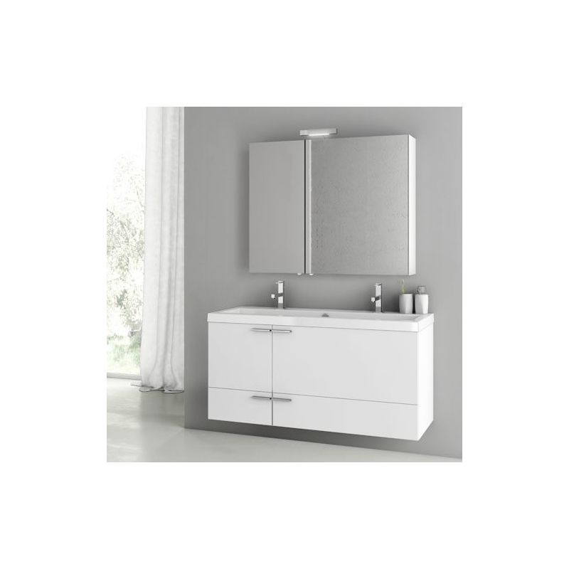 ACF by Nameeks ANS216 New Space 47 Wall Mounted Vanity Set with Wood Cabinet, C Glossy White Fixture Single