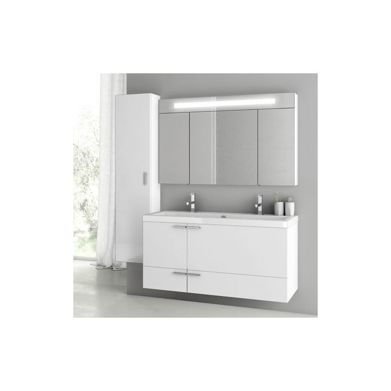 ACF by Nameeks ANS217 New Space 47 Wall Mounted Vanity Set with Wood Cabinet, C Glossy White Fixture Single