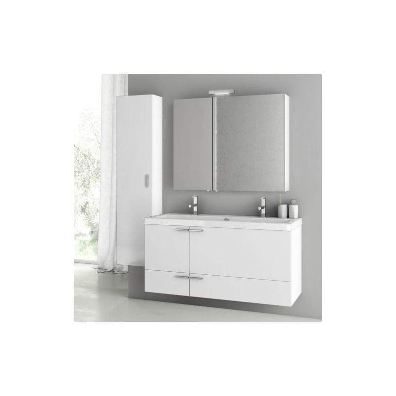 ACF by Nameeks ANS218 New Space 47 Wall Mounted Vanity Set with Wood Cabinet, C Glossy White Fixture Single
