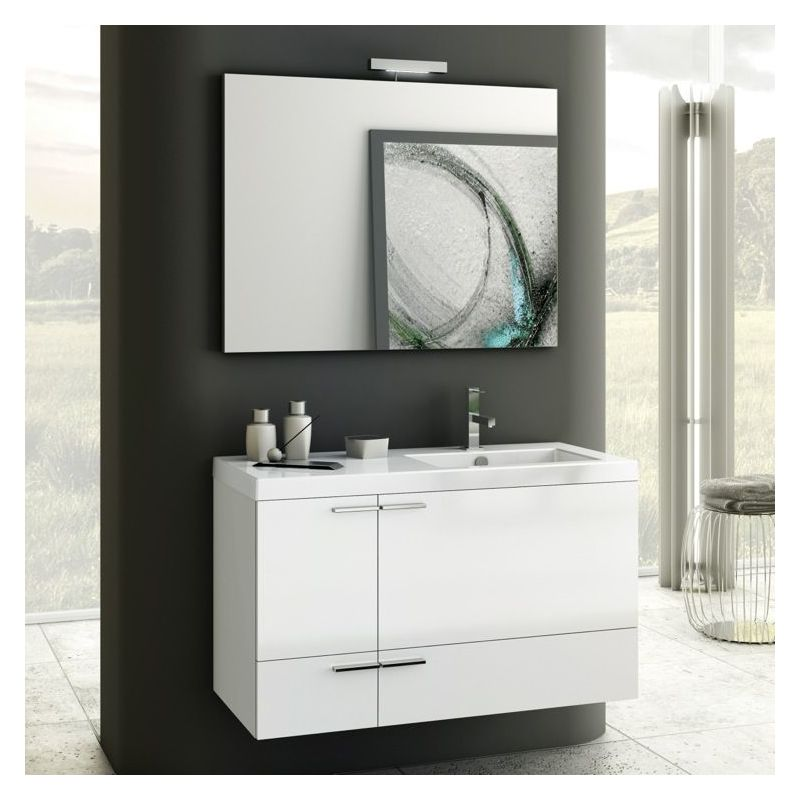 ACF by Nameeks ANS22 New Space 39-1\/5 Wall Mounted Vanity Set with Wood Cabinet Glossy White Fixture Single
