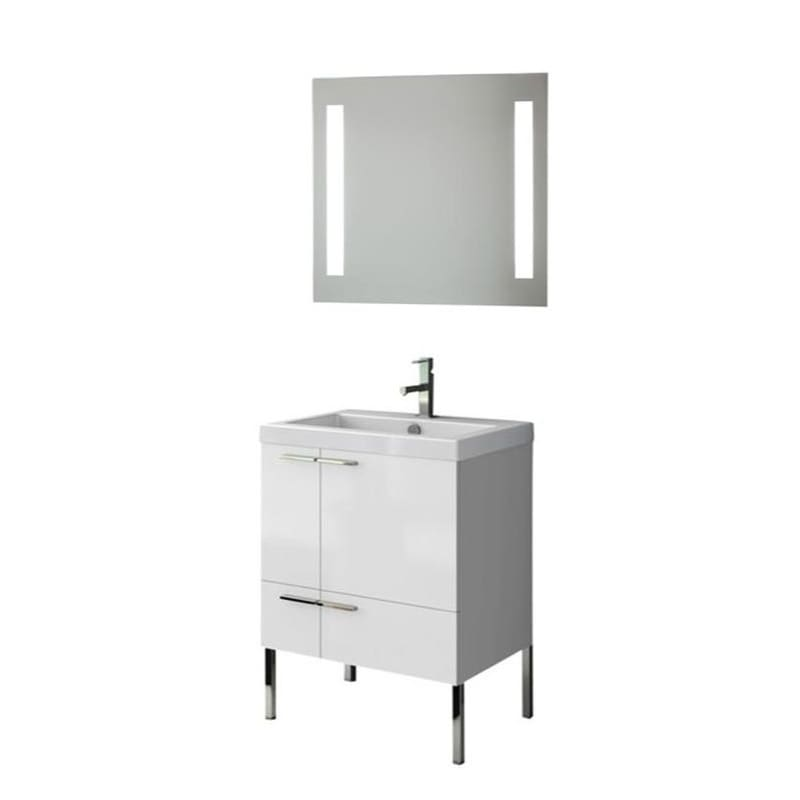 ACF by Nameeks ANS220 New Space 23-6\/15 Floor Standing Vanity Set with Wood Cab Glossy White Fixture Single