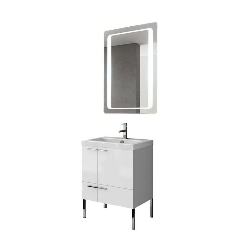 ACF by Nameeks ANS221 New Space 23-6\/15 Floor Standing Vanity Set with Wood Cab Glossy White Fixture Single