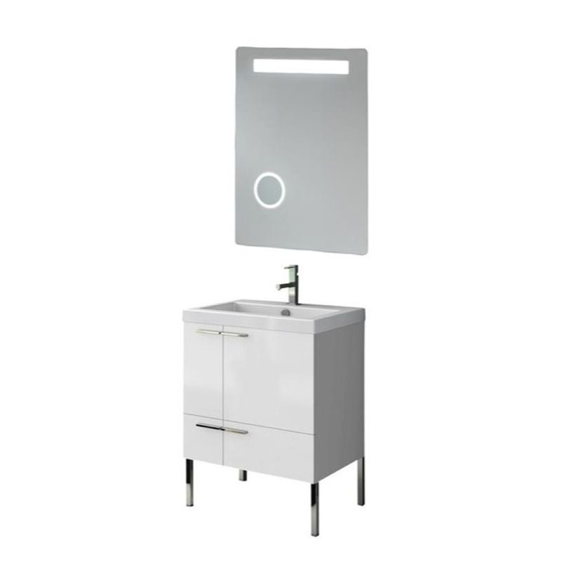 ACF by Nameeks ANS222 New Space 23-6\/15 Floor Standing Vanity Set with Wood Cab Glossy White Fixture Single