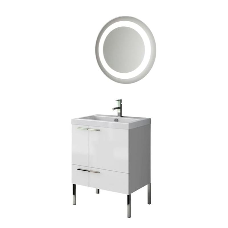 ACF by Nameeks ANS223 New Space 23-6\/15 Floor Standing Vanity Set with Wood Cab Glossy White Fixture Single