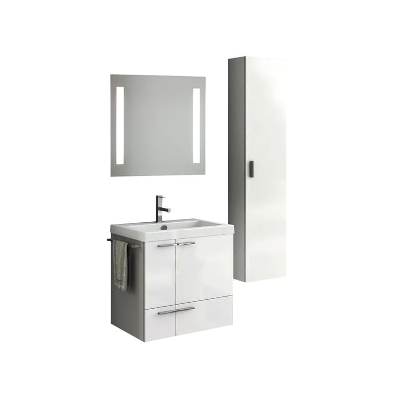 ACF by Nameeks ANS235 New Space 23-6\/15 Wall Mounted Vanity Set with Wood Cabin Glossy White Fixture Double
