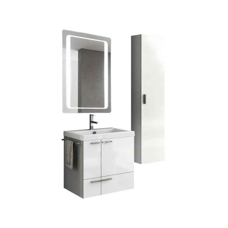 ACF by Nameeks ANS236 New Space 23-6\/15 Wall Mounted Vanity Set with Wood Cabin Glossy White Fixture Double