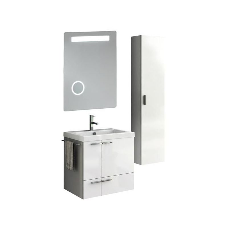 ACF by Nameeks ANS237 New Space 23-6\/15 Wall Mounted Vanity Set with Wood Cabin Glossy White Fixture Double